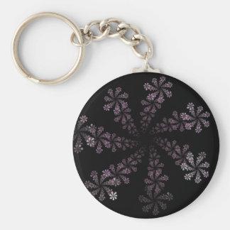 Diseño púrpura del amor del Hippie de la flor del  Llavero Redondo Tipo Pin
