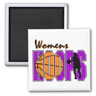 diseño púrpura del baloncesto de los aros para muj imán de frigorifico