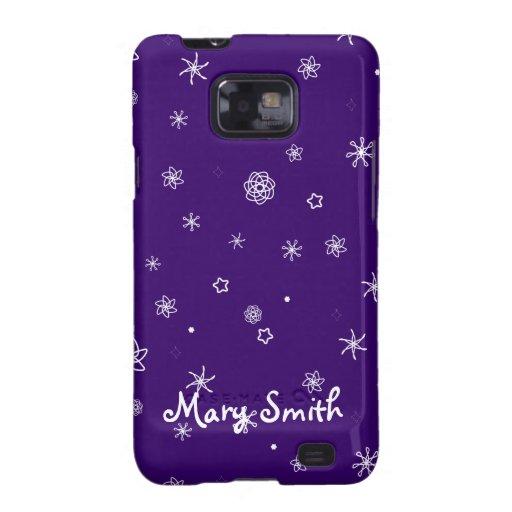 Diseño púrpura del copo de nieve de Personalizable Samsung Galaxy SII Carcasa