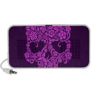Diseño púrpura del cráneo de las flores y de las v altavoces de viajar