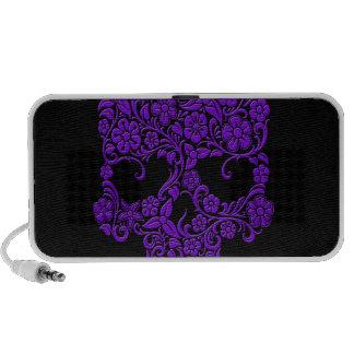Diseño púrpura del cráneo de las flores y de las v notebook altavoz