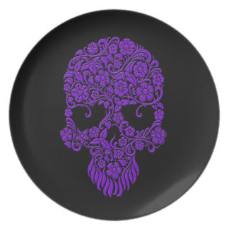 Diseño púrpura del cráneo de las flores y de las v plato de comida
