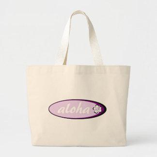 Diseño púrpura del hibisco de la hawaiana bolsa tela grande