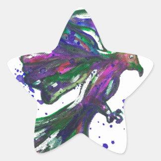 Diseño púrpura del pájaro del Watercolour de la Pegatina En Forma De Estrella