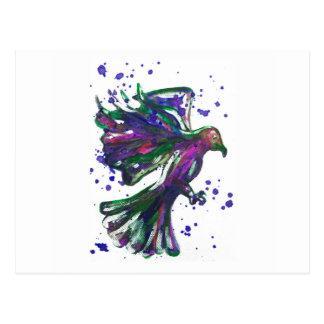 Diseño púrpura del pájaro del Watercolour de la Postales