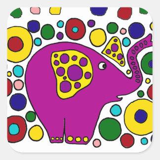 Diseño púrpura divertido del arte abstracto del pegatina cuadrada