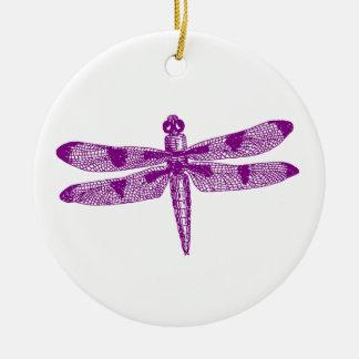 Diseño (púrpura) gráfico del doble de la libélula adorno navideño redondo de cerámica