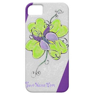 Diseño púrpura/gris del trébol de la mariposa funda para iPhone 5 barely there
