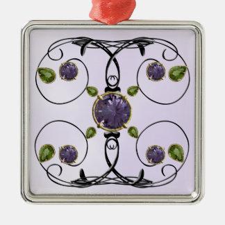 Diseño púrpura, violeta de la gema adorno navideño cuadrado de metal