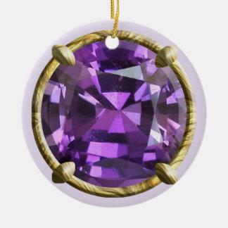 Diseño púrpura, violeta de la gema adorno navideño redondo de cerámica