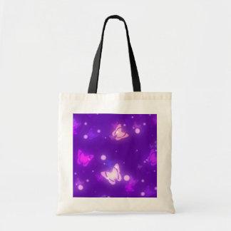 Diseño púrpura violeta de las mariposas ligeras de bolsa de mano