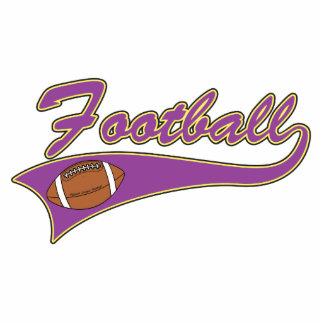 diseño púrpura y amarillo del logotipo del fútbol fotoescultura vertical