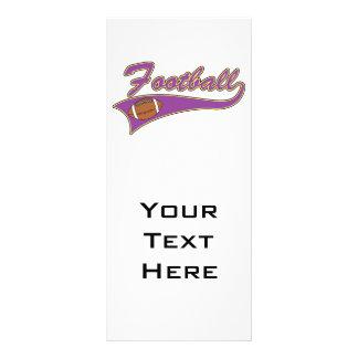 diseño púrpura y amarillo del logotipo del fútbol diseños de tarjetas publicitarias