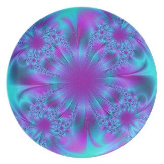 Diseño púrpura y azul del fractal platos