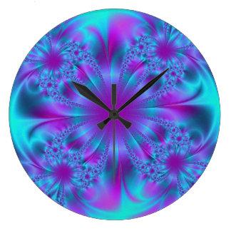 Diseño púrpura y azul del fractal reloj redondo grande