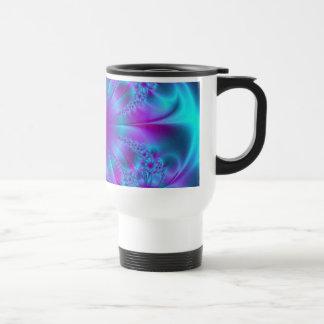 Diseño púrpura y azul del fractal tazas