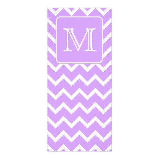 Diseño púrpura y blanco de Chevron. Monograma de e Tarjetas Publicitarias A Todo Color