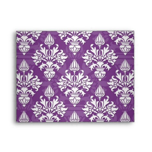 Diseño púrpura y blanco del damasco de la alcachof sobres