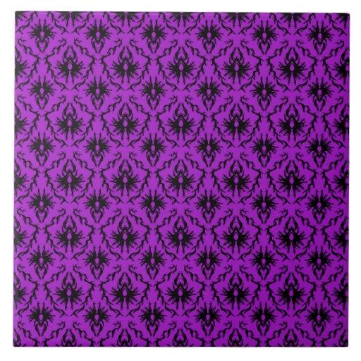 Diseño púrpura y negro del damasco. Gótico Tejas
