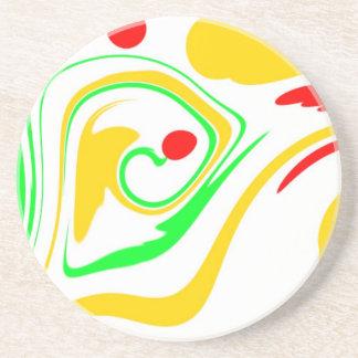 Diseño que remolina de Astract, amarillo y verde r Posavaso Para Bebida