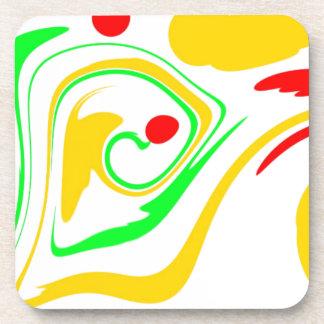 Diseño que remolina de Astract, amarillo y verde r Posavasos De Bebida