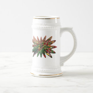 Diseño que se derrumba Stein de los tulipanes Jarra De Cerveza