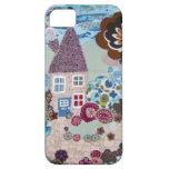 Diseño quilty de la casa de la tela de la cabaña c iPhone 5 cobertura
