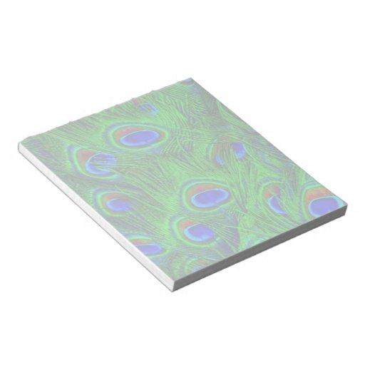 Diseño radiante del arte de las plumas del pavo re blocs de notas
