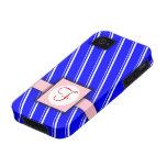 Diseño rayado azul, blanco y rosado del monograma Case-Mate iPhone 4 funda