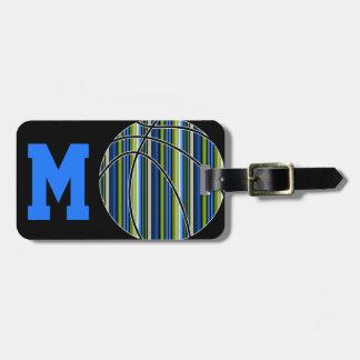 Diseño rayado azul y verde del baloncesto etiquetas para maletas