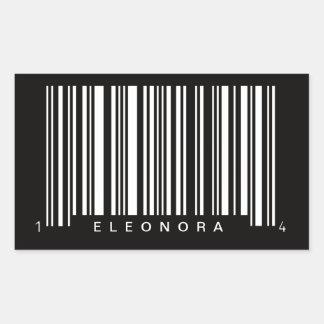 diseño rayado código de barras personalizado pegatina rectangular