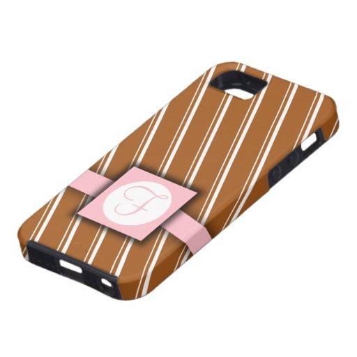 Diseño rayado de Brown, blanco y rosado del iPhone 5 Carcasas