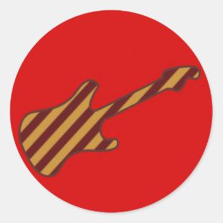 Diseño rayado de la guitarra de Stratocaster Pegatina Redonda