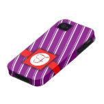 Diseño rayado del púrpura, blanco y rojo del monog Case-Mate iPhone 4 carcasas