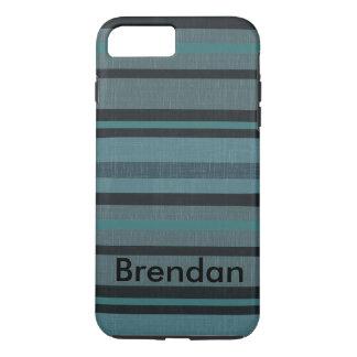 Diseño rayado mirada de lino del gris azul del funda iPhone 7 plus