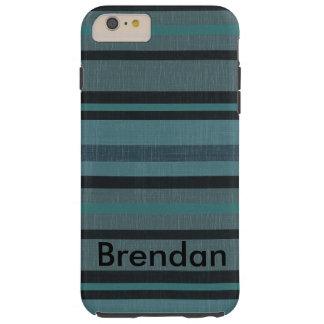 Diseño rayado mirada de lino del gris azul del funda resistente iPhone 6 plus
