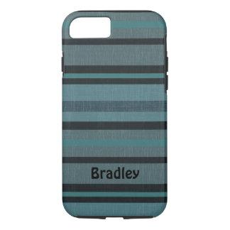 Diseño rayado oscuro personalizado del gris azul funda iPhone 7