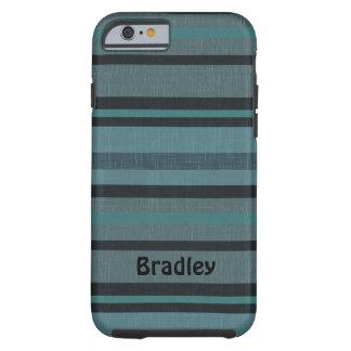 Diseño rayado oscuro personalizado del gris azul funda resistente iPhone 6