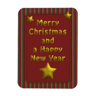 Diseño rayado tradicional festivo del navidad imanes de vinilo
