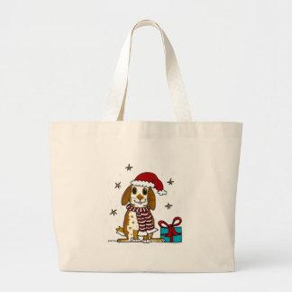 Diseño rechoncho del navidad del conejito bolsa tela grande