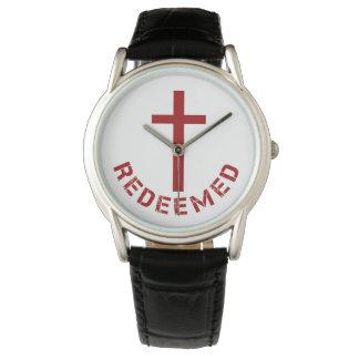 Diseño redimido cristiano de la Cruz Roja y del Relojes De Pulsera