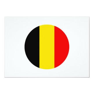 """Diseño redondo de la bandera de Bélgica Invitación 5"""" X 7"""""""
