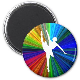 Diseño redondo de la silueta del bailarín de balle imán redondo 5 cm