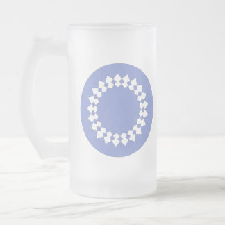 Diseño redondo elegante azul. Estilo del art déco Jarra De Cerveza Esmerilada