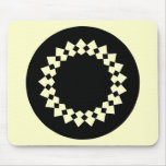 Diseño redondo elegante negro. Estilo del art déco Tapete De Ratón