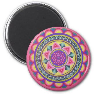 Diseño redondo rosado de la mandala imán redondo 5 cm