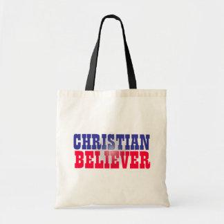 Diseño religioso del creyente cristiano bolsa tela barata