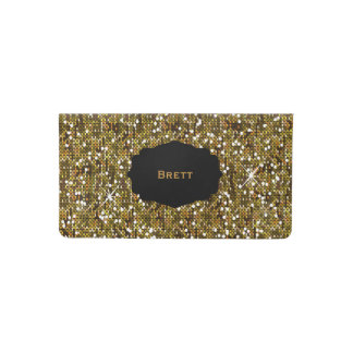 Diseño reluciente del oro elegante funda para chequera