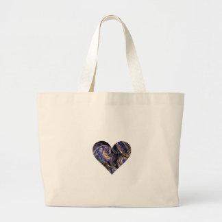 Diseño remolinado multicolor del corazón del arte  bolsa tela grande