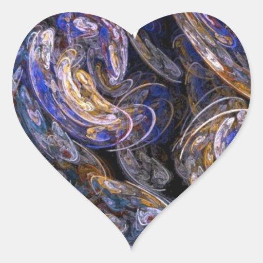Diseño remolinado multicolor del corazón del arte pegatina en forma de corazón